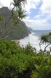 Rugged Coastline and Cliffs along the Kalalau Trail of Kauai, Hawaii Royalty Free Stock Photography
