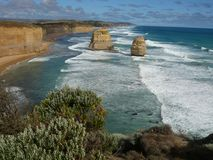 Rugged coastline, Great Ocean Road. Rugged coastline along the Great Ocean Road, Victoria, Australia stock photos
