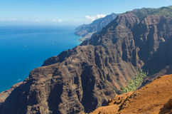 Rugged Coastline. The rugged coastline off the Na Pali Coast on the Hawaiian island of Kauai stock photos