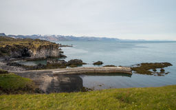 Rugged coastline of Snaefellsnes peninsula. Rocky coastline of Snaefellsnes peninsula in Iceland stock images