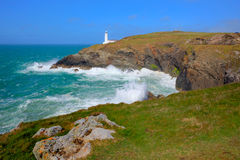 Rugged cornish coast Trevose Head Lighthouse North Cornwall coast between Newquay and Padstow Stock Image