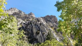 Craggy Outcrops in Rock Canyon. The rugged craggy outcrops of Rock Canyon in Provo, Ut royalty free stock image