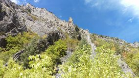 Craggy Outcrops in Rock Canyon. The rugged craggy outcrops of Rock Canyon in Provo, Ut stock photo