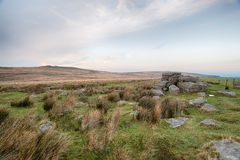 Rugged Dartmoor. Wild and rugged moorland at Okehampton Camp on Dartmoor National Park in Devon royalty free stock photos