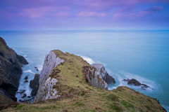 Rugged Devon coastline. A long exposure of Morte Point in North Devon near Woolacombe and Mortehoe Stock Images