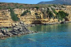 Rugged Greek Island Coastline, Zakynthos Royalty Free Stock Photo