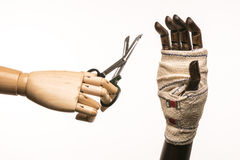 Rugged hand, scissors, bandage and care Stock Photography