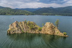 Rugged island juts out of Pactola Resevoir. Island in Pactola Reservoir, Blackhills National Forest, South Dakota Stock Photo