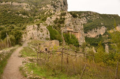Rugged Landscape Along The Walk of Gods in Italy Stock Photography