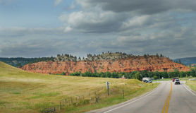 Rugged Landscape and curvy roads in Northeast Wyoming Royalty Free Stock Photography