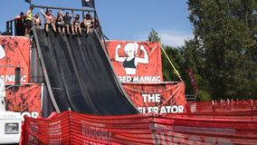 Rugged Maniac Competition. Participants compete in a race of endurance and physical fitness at the Rugged Maniac Competition stock footage
