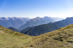 Rugged mountain peaks in a scenic alpine landscape Royalty Free Stock Image