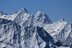 Rugged mountains in the Gokyo valley Stock Photos