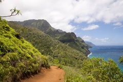 Rugged mountains and Kalalau trail Royalty Free Stock Photo