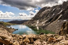 Mountains and lakes of the Sawatch Range. Colorado Rocky Mountains. Rugged mountains and lakes as seen from a hike up Holy Cross Ridge. Colorado Rockies royalty free stock photo