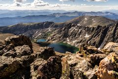 Mountains and lakes of the Sawatch Range. Colorado Rocky Mountains. Rugged mountains and lakes as seen from a hike up Holy Cross Ridge. Colorado Rockies royalty free stock photos