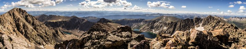Mountains and lakes of the Sawatch Range. Colorado Rocky Mountains. Rugged mountains and lakes as seen from a hike up Holy Cross Ridge. Colorado Rockies royalty free stock images