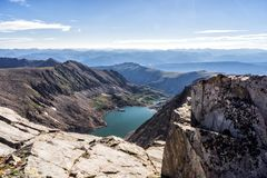 Mountains and lakes of the Sawatch Range. Colorado Rocky Mountains. Rugged mountains and lakes as seen from a hike up Holy Cross Ridge. Colorado Rockies stock photo