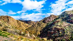 The rugged mountains of the McDowell Mountain Range viewed from Arizona Highway SR87. Between Phoenix and the town of Payson in Northern Arizona stock photos