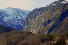 Rugged Norwegian mountains. Scenic, rugged mountains of Norway in early spring Royalty Free Stock Photography