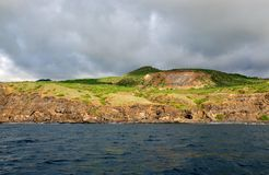 Rugged ocean cliffs on the island of Fogo Stock Images