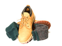 Rugged oxford work shoe boot ragg socks Stock Image