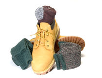 Rugged oxford work shoe boot ragg socks Royalty Free Stock Photography