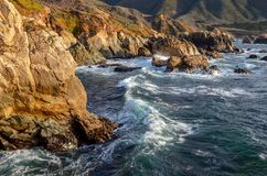 The rugged Pacific coast and surf in Big Sur, California royalty free stock photos
