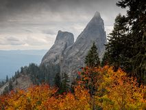 Free Rugged Rock Pillars Above Autumn Foliage Stock Photography - 155438302