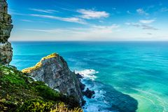Free Rugged Rocks And Steep Cliffs Of Cape Point In The Cape Of Good Hope Nature Reserve Royalty Free Stock Image - 97719516