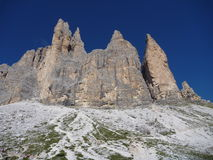 Rugged rocks in Dolomiti mountains Royalty Free Stock Photo