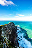 Rugged rocks and steep cliffs of Cape Point in the Cape of Good Hope Nature Reserve Stock Image