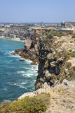 Rugged and rocky cliffs in Sagres, Portugal Stock Photos