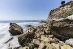 Rugged Rocky Shoreline in Rancho Palos Verdes California Royalty Free Stock Photography