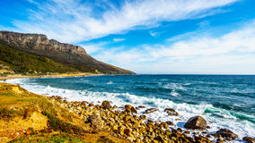 The rugged shoreline near Llandudno along the Twelve Apostles. Which is part of Table Mountain near Cape Town South Africa stock photos