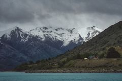 Rugged snow covered mountain peaks, Argentina royalty free stock image