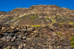 Hawaii Volcanoes National Park Hiking Scenic. Rugged terrain along the pali cliffs at Halape Beach, an infamous location along the Puna Coast Trail in Hawaii Stock Image