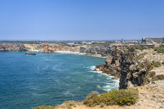 Rugged terrain surround the fortress in Fortaleza de Sagres Royalty Free Stock Photo