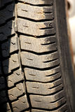 Rugged tyre. Closeup shot of rugged car tyre Royalty Free Stock Photography