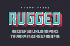 Rugged vector stylish 3d display typeface, font, uppercase letters and numbers, alphabet, typography. Global swatches vector illustration
