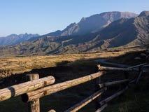 Rugged volcanic peaks inside Aso caldera, part of Aso-Kuju National Park. Kumamoto prefecture, Japan stock photography