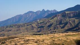 Rugged volcanic peaks of Mount Neko inside Aso caldera, part of Aso-Kuju National Park. Kumamoto prefecture, Japan royalty free stock photography