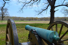 Ruggles Battery at Shiloh NMP. A cannon overlook the battlefield towards the Hornet's Nest at Shiloh National Military Park in Tennessee Royalty Free Stock Photography
