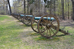 Ruggles Battery at Shiloh NMP. A line of cannons overlook the battlefield at Shiloh National Military Park in Tennessee Stock Photo