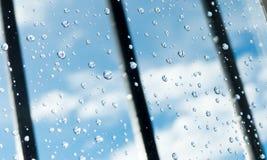 Rugiada sul vetro di finestra della prigione Fotografie Stock Libere da Diritti