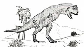 Rugido de Carnosaur en el ejemplo del estilo 3d del bosquejo de la selva libre illustration