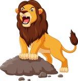 Rugido del león de la historieta aislado en el fondo blanco Imagenes de archivo