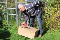 Rugpijn die zware doos verkeerd opheft. Royalty-vrije Stock Fotografie