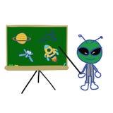 Rugplank met ruimtevoorwerp en vreemde instructeur royalty-vrije illustratie