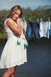 Ruhe einer schwangeren Dame Stockfotos